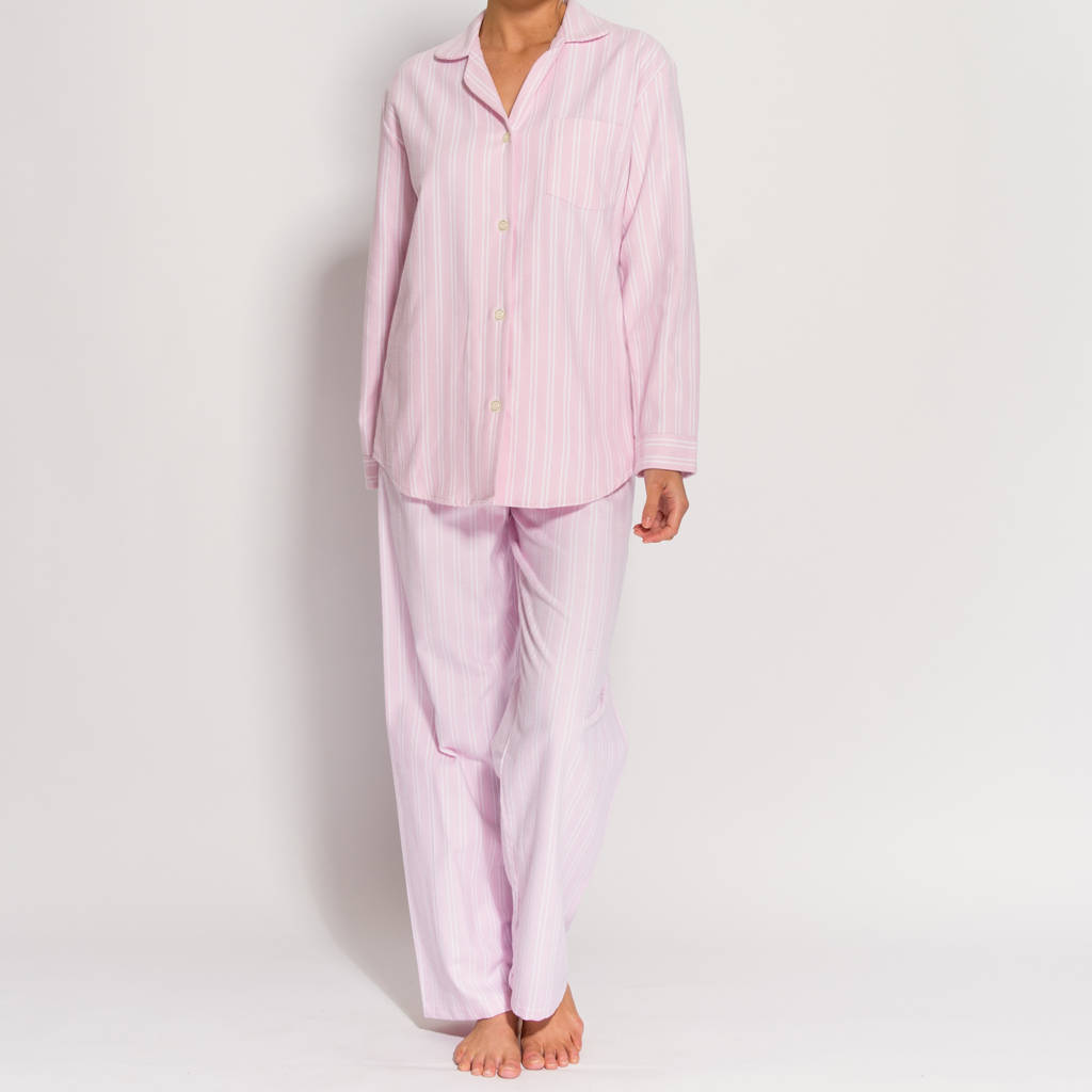Women's Pyjamas In Pink And White Striped Flannel