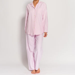 Women's Pyjamas In Pink And White Striped Flannel - women's fashion