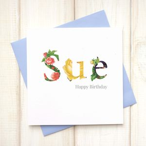 Personalised Floral Birthday Card - cards sent direct