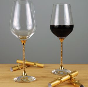 Pair Of Wine Glasses With Gold Swarovski Crystals - drink & barware