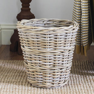 Round Willow Wastepaper Bin - baskets