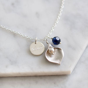 Personalised Calla Lily Necklace - 80th birthday gifts