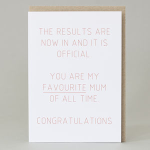 'You Are My Favourite Mum Of All Time' Card