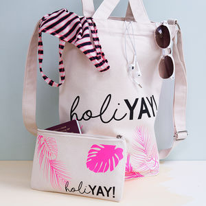 Personalised Holiday Canvas Tote And Makeup Bag