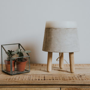 Concrete And Oak Small Table Lamp - lighting