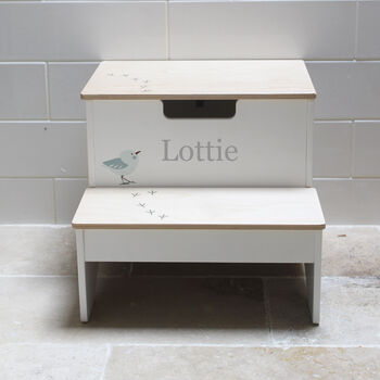 Personalised Childs White Wooden Storage Steps