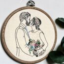 Personalised Hand Embroidered Couples Wedding Portrait