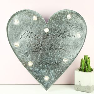 Personalised Industrial Wedding Heart With LED Lights - best wedding gifts