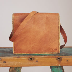 Personalised Brown Leather Messenger Bag - summer sale