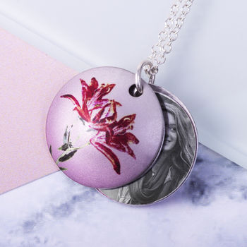May Birth Flower Lily Photo Locket Gift Necklace