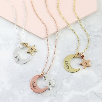 Personalised Mixed Metal Moon And Star Necklace