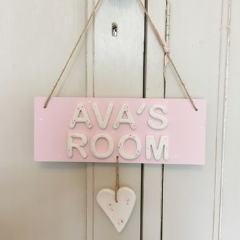 Personalised Room Sign Name Plaque With Floral Heart