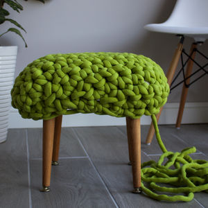 'Demetrius' Handwoven Yarn Footstool - furniture