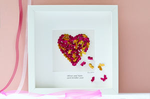 Wedding Colours Personalised Butterfly Heart Picture