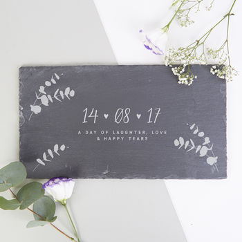 Anniversary Gift Personalised Date Slate Serving Board