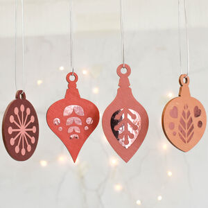Christmas Tree Decoration Set, Pink With Rose Gold