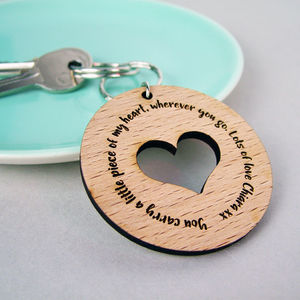 Personalised Wooden Heart Keyring - keyrings