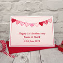 'Heart Bunting' Personalised Anniversary Card