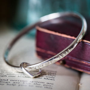 Personalised Solid Silver Bangle With Heart Charm - shop by recipient
