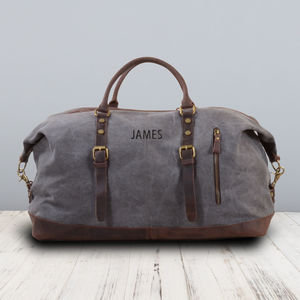 Canvas Classic Travel Holdall Bag Personalised - gifts for him