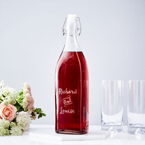 Couples Personalised Glass Bottle - best wedding gifts