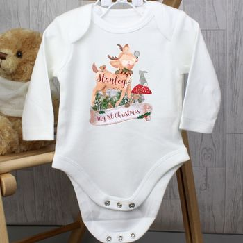 'Festive Fawn' Personalised Christmas Babygrow