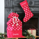 Personalised Santa Sack Christmas Stocking Set Spots