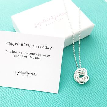 60th Birthday Silver Necklace
