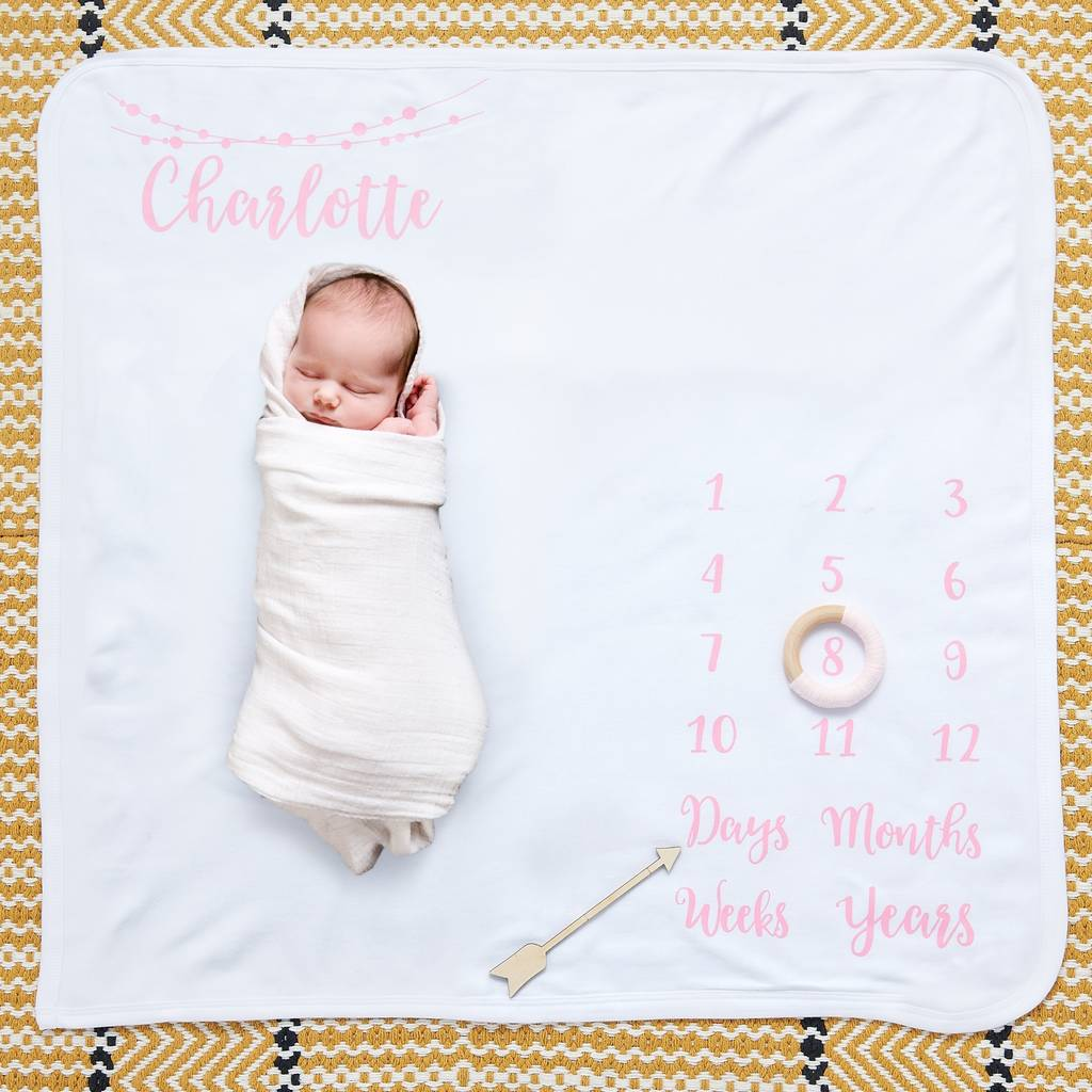 Personalised Baby Milestone Blanket By Sunday S Daughter Notonthehighstreet Com