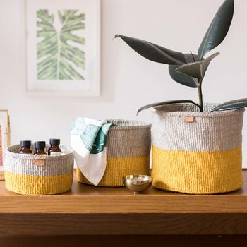 Yellow And Grey Duo Colour Block Basket