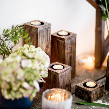 Wooden Tea Light Holders Set Of Four