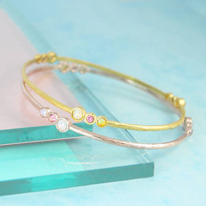Gold Opal/Tourmaline Double Birthstone Bangle - bracelets & bangles
