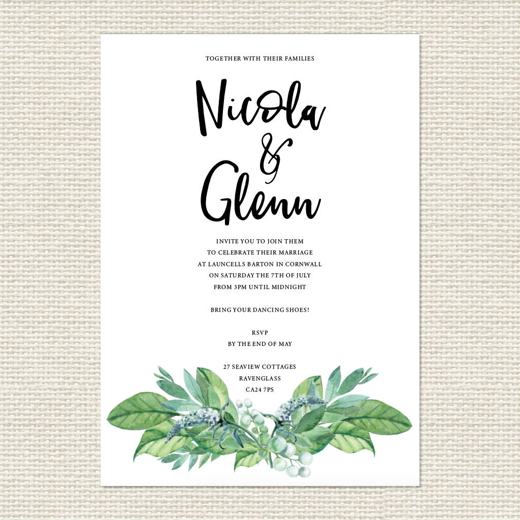 'greenhouse' Leafy Botanical Modern Wedding Invitation By
