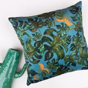 Tropical Velvet Cushion Cover With Monstera Print - cushions