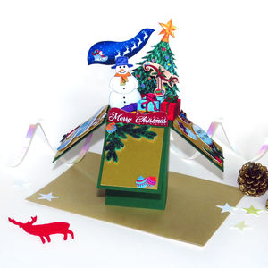 Personalised 3D Pop Up Christmas Box Card Green - cards
