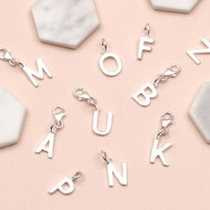 Sterling Silver Initial Clip On Charms