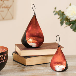 Two Copper Leaf Hanging Tea Light Holders