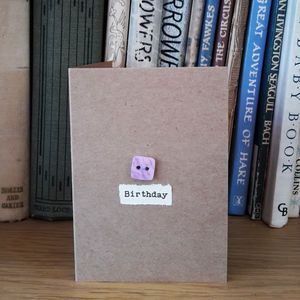 'Birthday' Porcelain Button Card - birthday cards