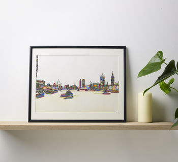 Westminster Bridge Multicoloured Illustration Print