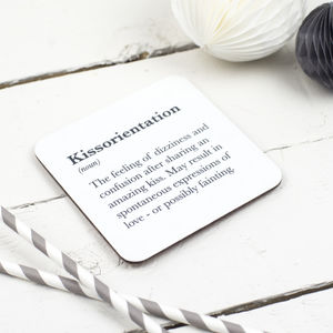Funny 'Kissorientation' Coaster - dining room