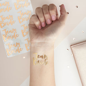 Pk 16 Team Bride Hen Party Temporary Tattoos Rose Gold