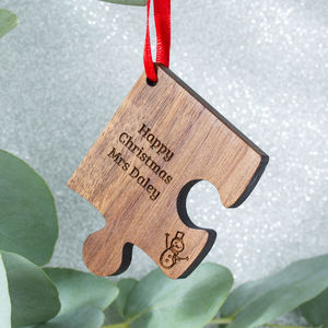 Personalised Wooden Gift Teacher Christmas Decoration - unique christmas decorations