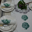 Artichoke And Garlic Linen Table Runner