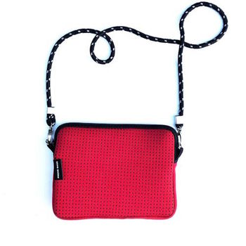 Neoprene Cross Body Bag Red