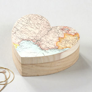 Personalised Map Heart Shape Location Jewellery Box