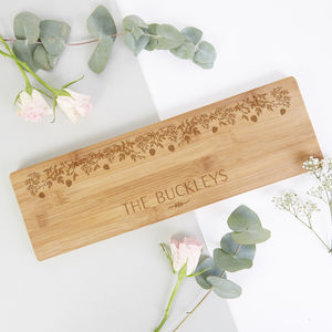 Personalised Christmas Wooden Platter Board Botanical