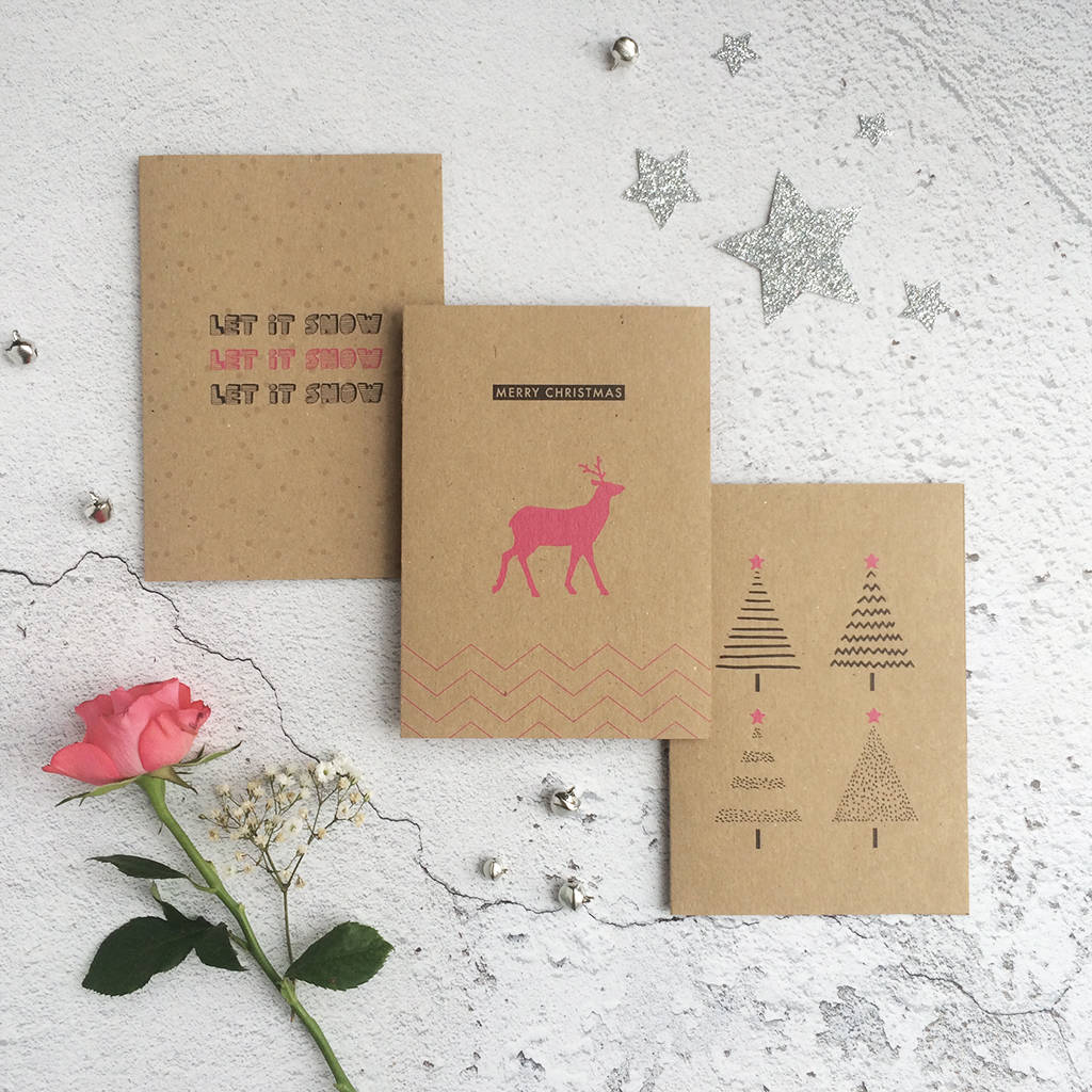 pack of nine recycled kraft christmas cards by papergrace ...