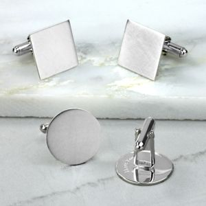 Matte Finish Hidden Message Silver Cufflinks - men's accessories