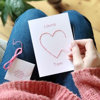 Stitch Your Own Personalised Couples Heart Card
