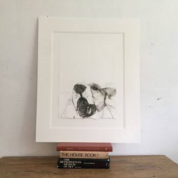 'Shouty Dog' Hand Pressed Drypoint Edition Print